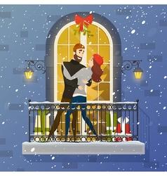 Romantic Balcony Scene Flat Poster vector image vector image