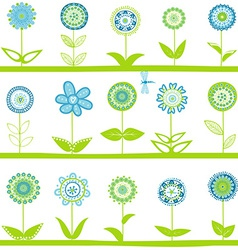 Rows with blue flowers vector image vector image
