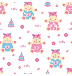 Seamless pattern with cute baby hippo vector