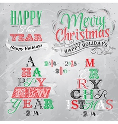 Set Merry Christmas Happy coal vector image