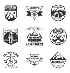 set of outdoor activity camping and vector image vector image
