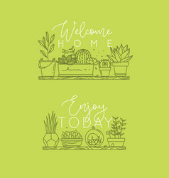 Shelf with flowers welcome home light green vector