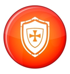 Shield with cross icon flat style vector