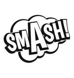 Smash comic book bubble text icon simple style vector