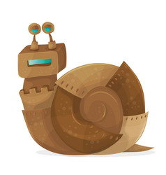 Snail robot cartoon vector