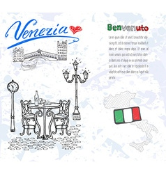 Venice Italy sketch elements Hand drawn set with vector image
