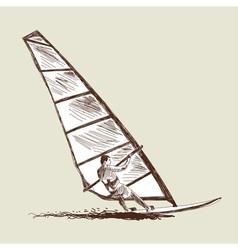 Windsurfing sketch vector