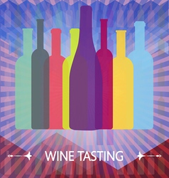 Wine tasting card colored bottles vector