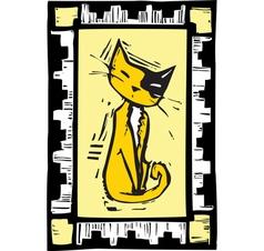 Woodcut Cat vector image