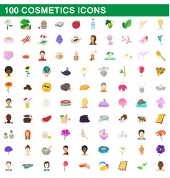 100 cosmetics icons set cartoon style vector