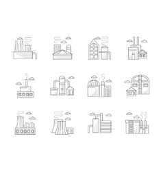 Industrial architecture flat line icons vector