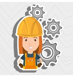 Woman worker gears vector