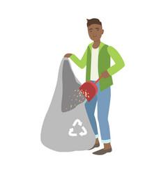 Man throwing the dust into trash bag cartoon vector