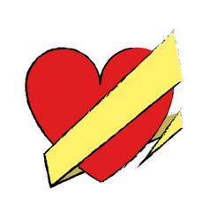 Drawing love heart wrap ribbon celebration vector