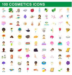 100 cosmetics icons set cartoon style vector