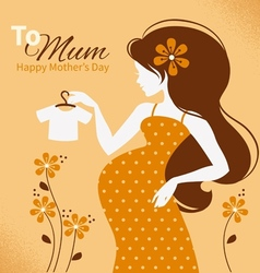 Vintage beautiful pregnant woman vector