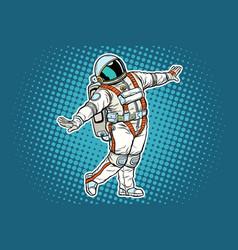 Astronaut dancing funny gesture vector