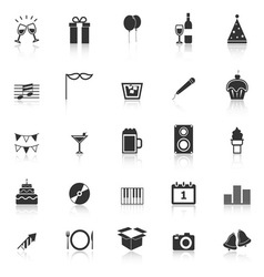 New year icons with reflect on white background vector