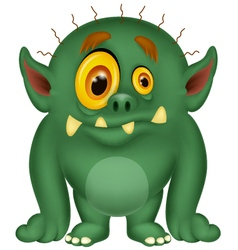 Green monster cartoon vector image