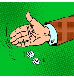 Case the die is dice throwing hand business vector