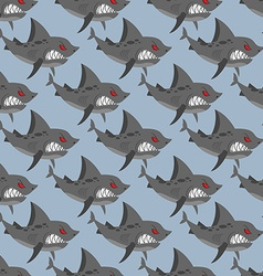 Terrible shark pack of sharks seamless background vector