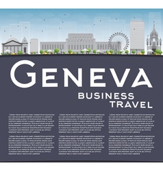 Geneva skyline with grey landmarks vector image