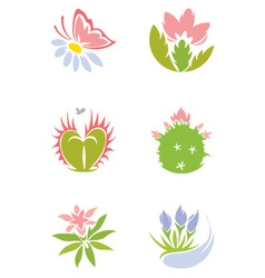 Set - flowers vector image