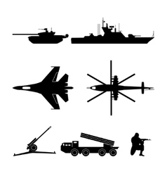 Black silhouettes of military equipment vector