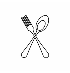 Spoon and fork icon outline style vector