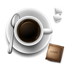 A topview of a cup with a coffee vector