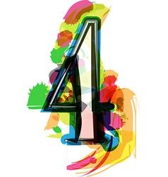 Artistic font - number 4 vector