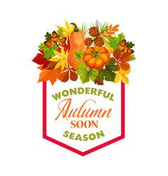 Autumn maple leaf pumpkin harvest poster vector
