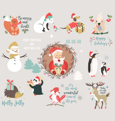 big holiday set with funny characters and symbols vector image