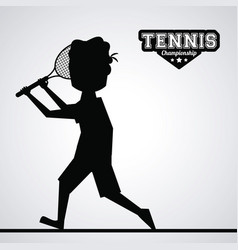 Black silhouette faceless tennis player vector