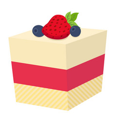 Cake with berries cupcake with strawberry and vector