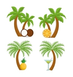 Coconut pineapple orange cocktail and palm tree vector