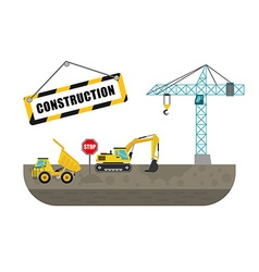 Construction machinary design vector image