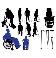 Crutches canes wheelchairs vs vector
