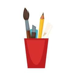 cup with pencils and brushes vector image vector image