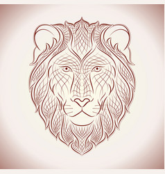 Ethnic lion line vector