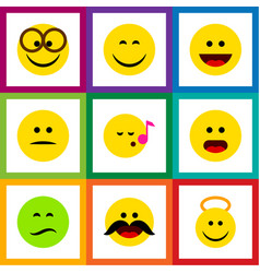 Flat icon gesture set of frown descant pleasant vector