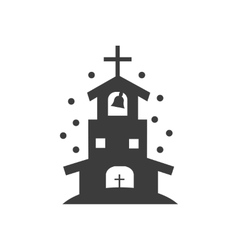 Flat icon in black and white style church vector