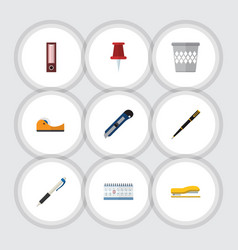 Flat icon tool set of pushpin trashcan dossier vector