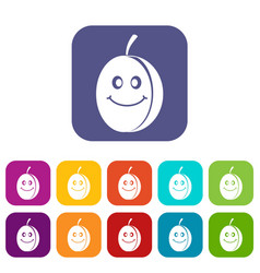 Fresh smiling plum icons set flat vector