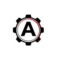 Gear solution logo letter a vector