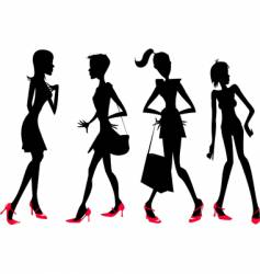 girls in silhouette vector image vector image