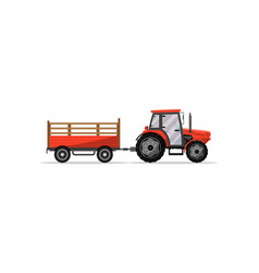 Heavy wheeled tractor with trailer icon vector