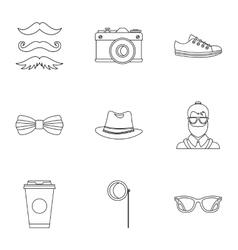 Hippie icons set outline style vector