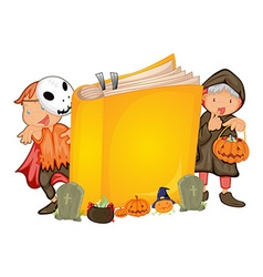 Kids in halloween costume and a book vector image vector image