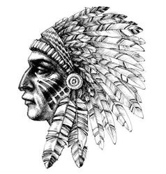 Native american indian warrior profile with war vector